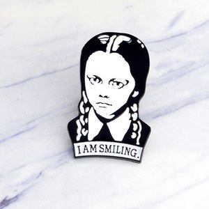 Wednesday Adam's I'm Smiling enamel fashion pin